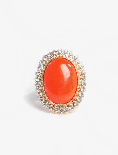 Orange Stone Stretchy Ban Diamond Ring