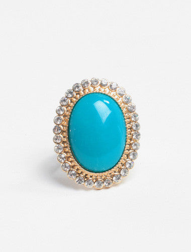Turquoise Stone Stretchy Ban Diamond Ring