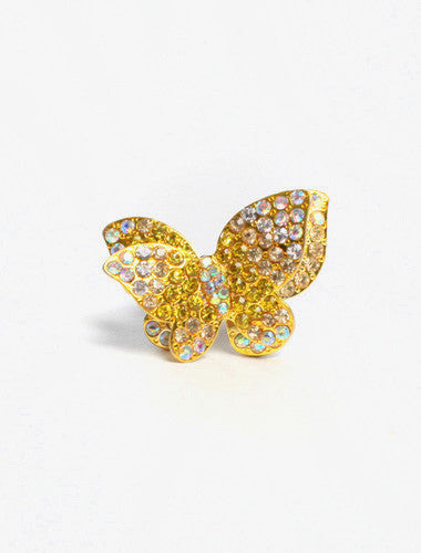Plus Size Stretchy Rhinestone Yellow Butterfly Ring