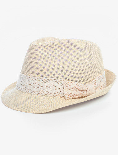 Classic Tweed Lace Bow Off White Fedora Hat
