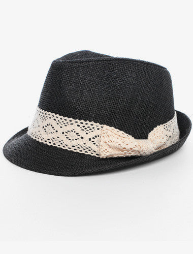 Classic Tweed Lace Bow Black Fedora Hat