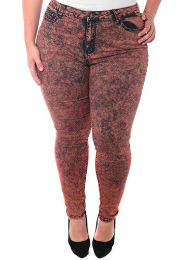 Plus Size High Rise Mineral Wash Coral Jeans