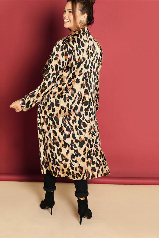 Plus Size On The Prowl Waterfall Leopard Print Trench Coat