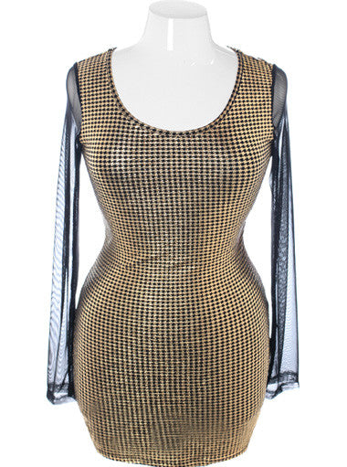 Plus Size Sexy Corset Back Houndstooth Gold Dress