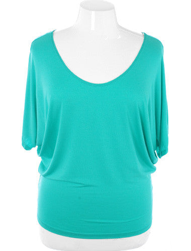 Plus Size Sexy Butterfly Sleeves Teal Blouse