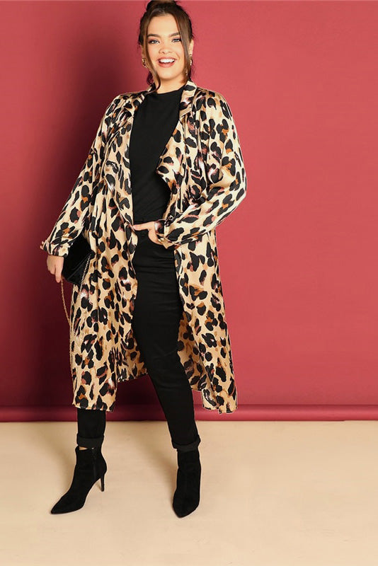 f6bb9a23f7184 Plus Size On The Prowl Waterfall Leopard Print Trench Coat
