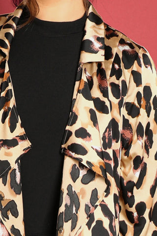 ccd23b4b1d9 ... Plus Size On The Prowl Waterfall Leopard Print Trench Coat