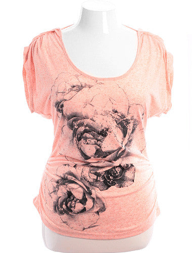 Plus Size See Through Back Flower Jewel Pink Top
