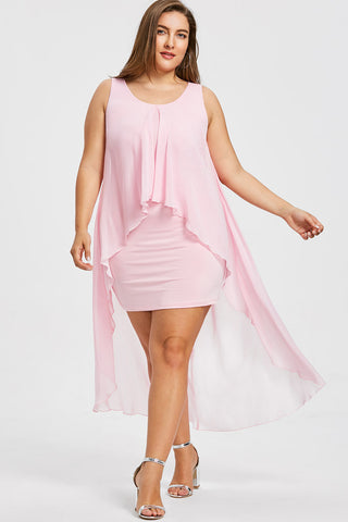 Plus Size Divine High Low  Sleeveless Layered Dress