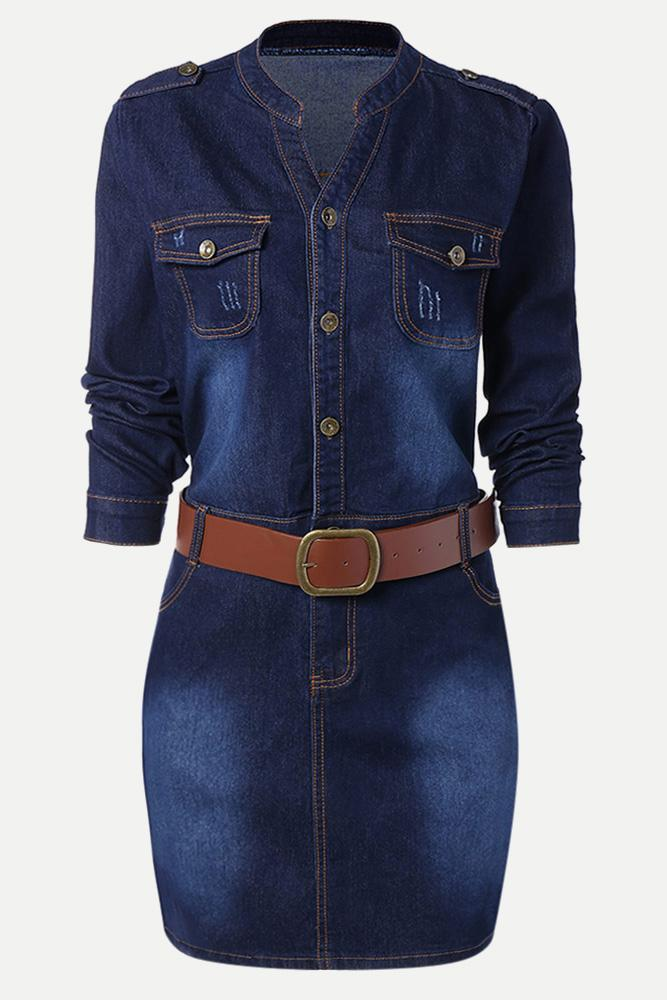 Plus Size Denim Button Up Belted Long Sleeve Dress