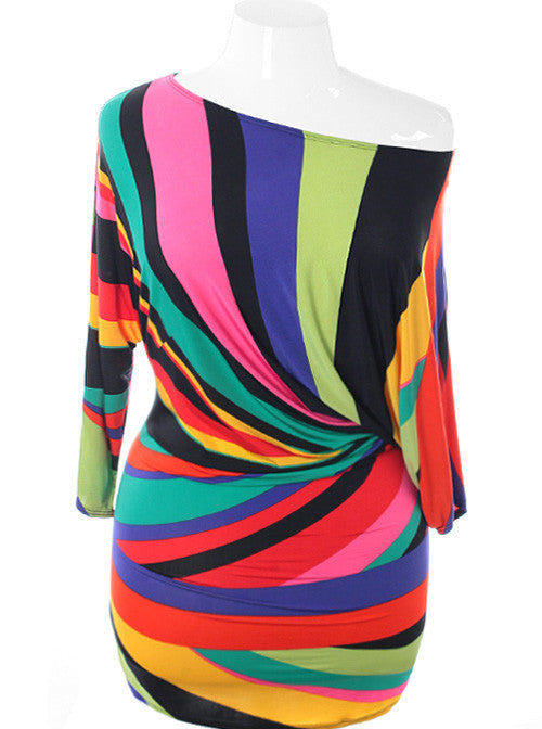 Plus Size Sexy Abstract Colorful Mini Dress