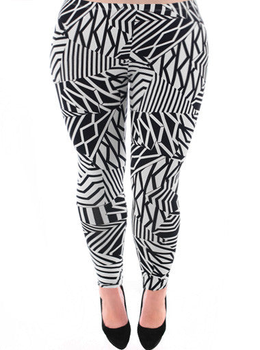 Plus Size Sexy Abstract Black White Leggings