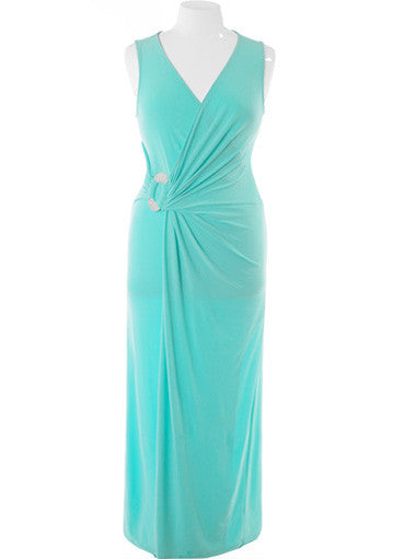 Plus Size Designer Runway Jewelry Teal Maxi Dress