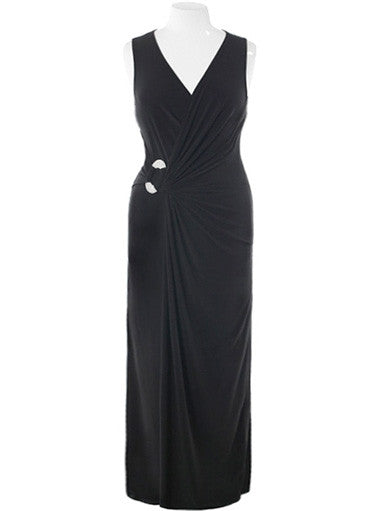 Plus Size Designer Runway Jewelry Black Maxi Dress