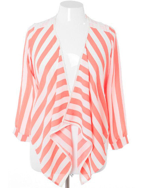 Plus Size Sexy Sheer Stripe Coral Cardigan