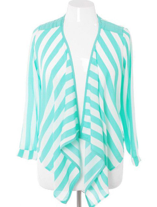 Plus Size Sexy Sheer Stripe Teal Cardigan