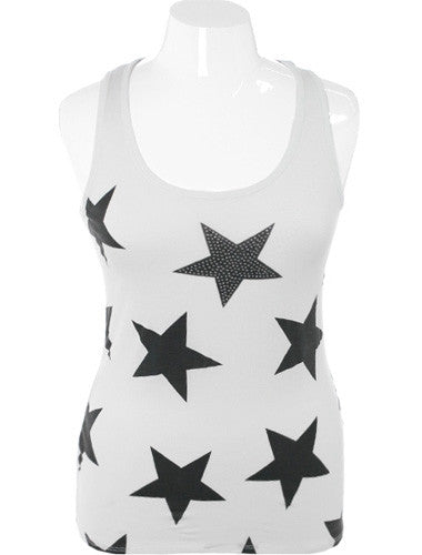 Plus Size Studded Star White Tank