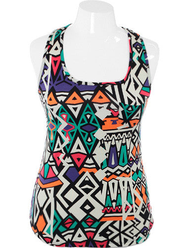 Plus Size Colorful Pop Art Tank