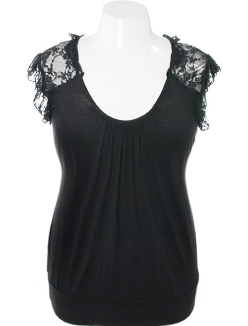 Plus Size Adorable Ruffle Black Top