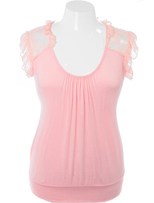 Plus Size Adorable Ruffle Pink Top