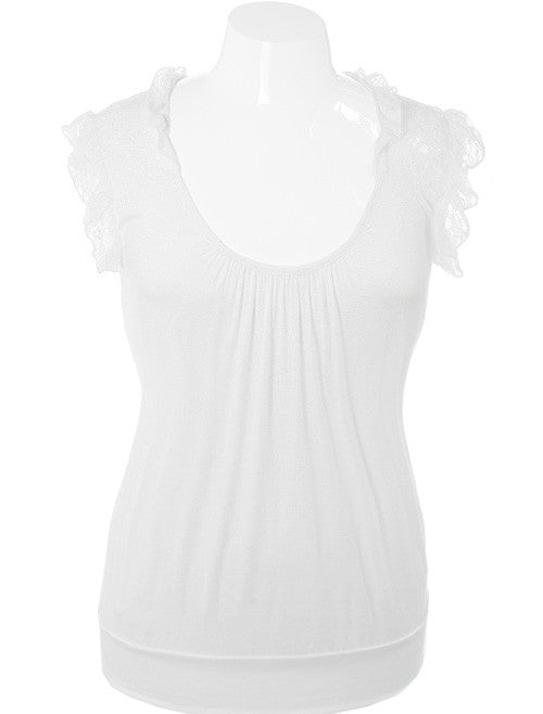 Plus Size Adorable Ruffle White Top