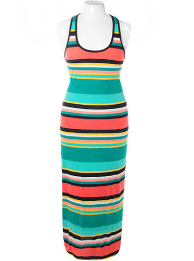 Plus Size Summer Stripe Maxi Teal Dress