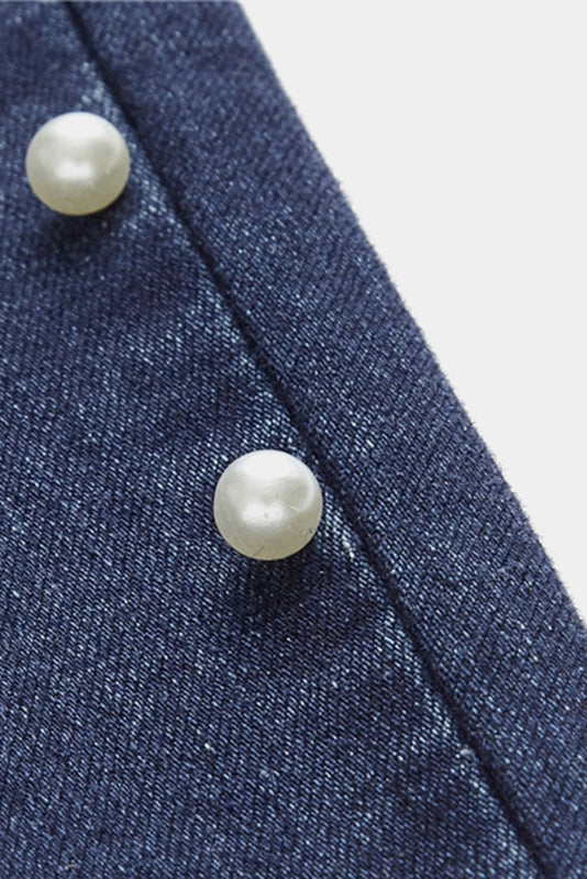 Plus Size High Mod Pearls Beads Casual Denim Jeans