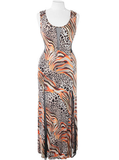 Plus Size Peep Through Wild Maxi Orange Dress