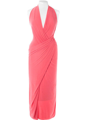 Plus Size Glamour Draped Coral Maxi Dress