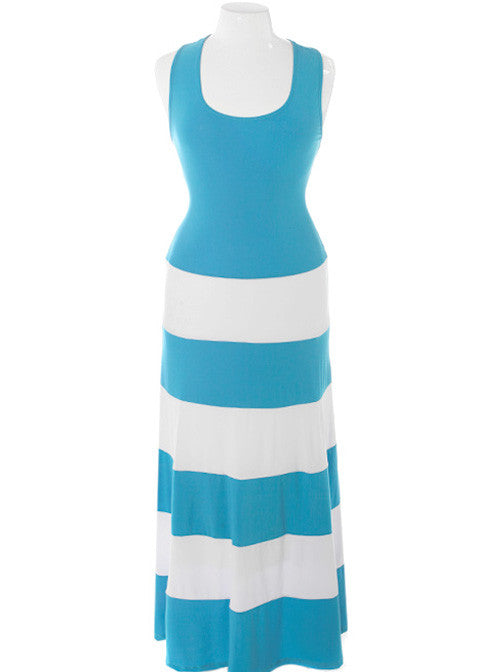 Plus Size Stripe Colorblock Sky Maxi Dress