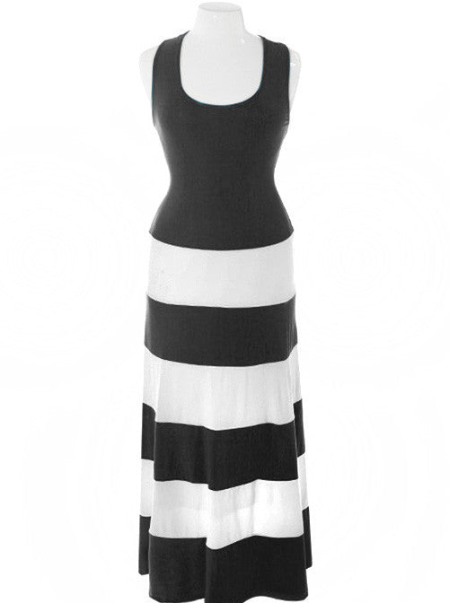 Plus Size Stripe Colorblock Black Maxi Dress