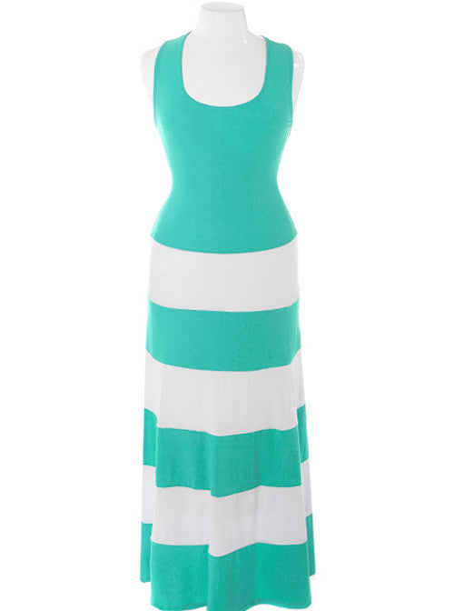 Plus Size Stripe Colorblock Teal Maxi Dress