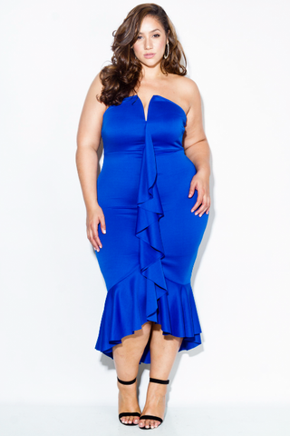 Plus Size Glam Cascade Ruffle Dress