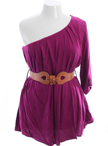 Plus Size Adorable One Shoulder Pleated Purple Top
