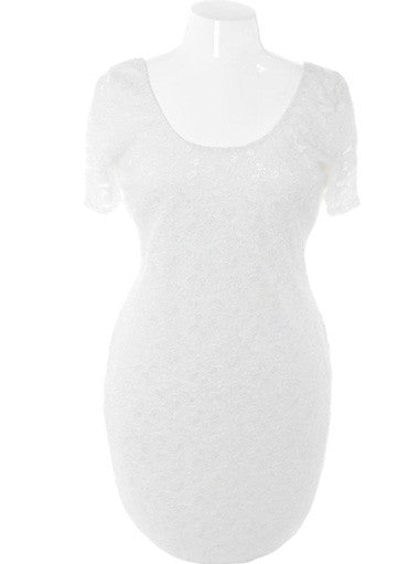 Plus Size Bodycon Lace White Dress