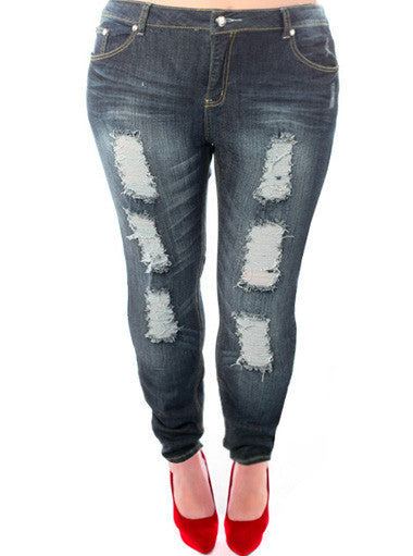 Plus Size Distressed Diamond Buttons Skinny Jeans