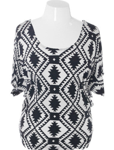 Plus Size Tribal Butterfly Sleeve Black Top
