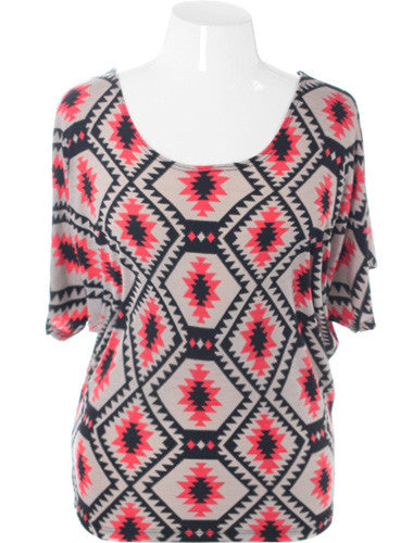 Plus Size Tribal Butterfly Sleeve Tan Top