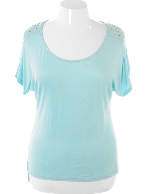 Plus Size Spiked Rocker Studded Blue Top