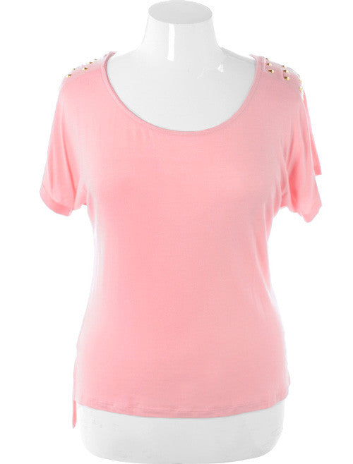 Plus Size Spiked Rocker Studded Pink Top