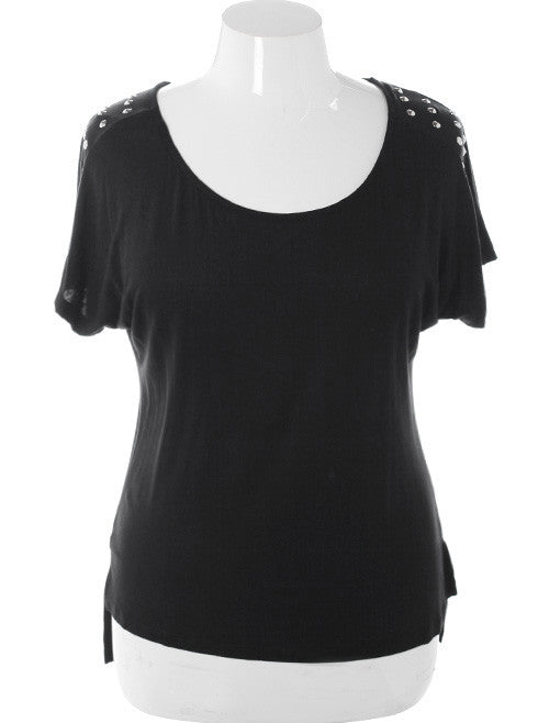 Plus Size Spiked Rocker Studded Black Top