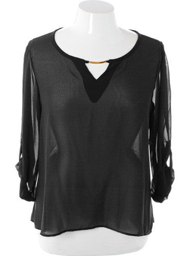 Plus Size Elegant See Through Roll Up Sleeve Black Top