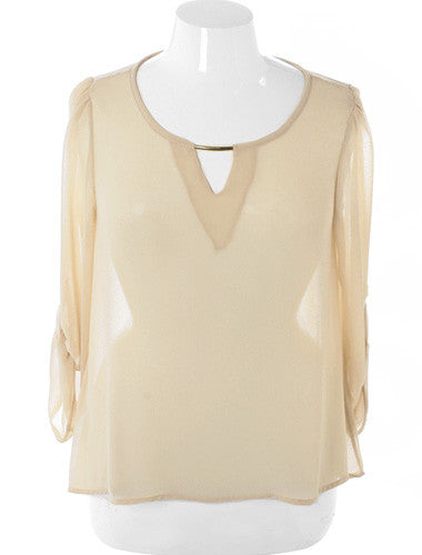Plus Size Elegant See Through Roll Up Sleeve Tan Top