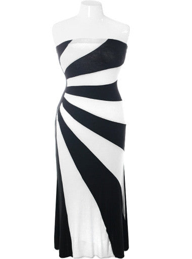 Plus Size Designer Stripe Maxi White Dress