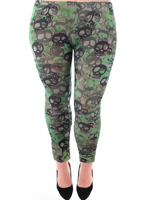 Plus Size Trendy Punk Rocker Skull Leggings
