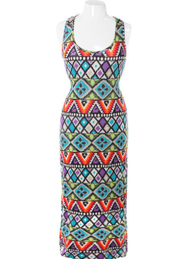 Plus Size Colorful Tribal Maxi Dress