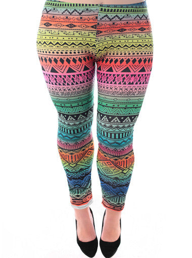 Plus Size Colorful Southwest Print Leggings