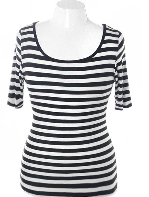 Plus Size Stylish Open Back Stripe Top