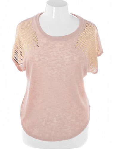 Plus Size Sexy Crop Sparkling Shoulder Tan Top