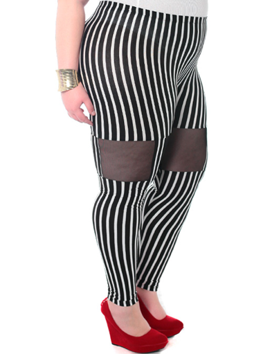 Plus Size Stripe Cut Out Leggings